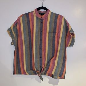 Madewell Tie-Front Shirt in Rainbow Stripe